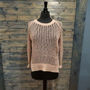 Anthro Silence and Noise Open Weave Blush sweater